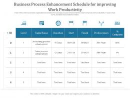 Business Process Enhancement Schedule For Improving Work Productivity