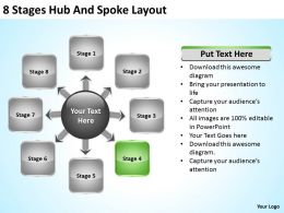 Business Process Flow 8 Stages Hub And Spoke Layout Powerpoint Templates