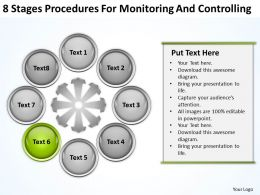 Business Process Flow 8 Stages Procedures For Monitoring And Controlling Powerpoint Templates