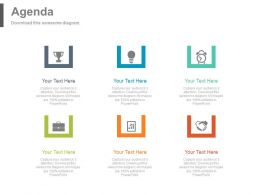 Business Process Flow Agenda Tags And Icons Powerpoint Slides