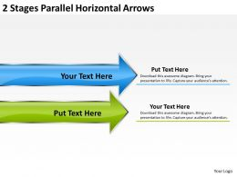 Business Process Flow Chart 2 Stages Parallel Horizontal Arrows Powerpoint Templates