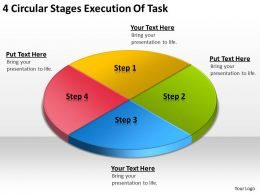 Business Process Flow Chart 4 Circular Stages Execution Of Task Powerpoint Templates