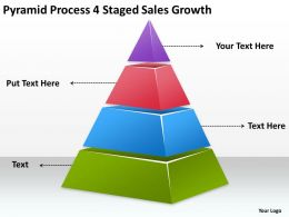 Business Process Flow Chart 4 Staged Sales Growth Powerpoint Templates PPT Backgrounds For Slides 0515