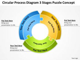 Business Process Flow Chart Circular Diagram 3 Stages Puzzle Concept Powerpoint Templates
