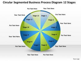 Business Process Flow Chart Segmented Diagram 12 Stages Powerpoint Templates