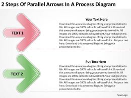 Business Process Flow Diagram 2 Steps Of Parallel Arrows Powerpoint Slides