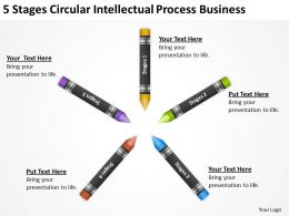 Business Process Flow Diagram 5 Stages Circular Intellectual Powerpoint Templates