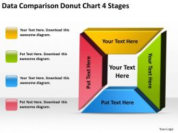Business Process Flow Diagram Data Comparison Donut Chart 4 Stages Powerpoint Templates