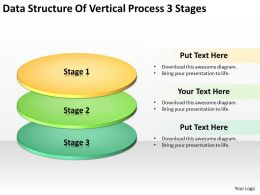 Business Process Flow Diagram Data Structure Of Vertical 3 Stages Powerpoint Templates