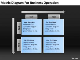 Business Process Flow Diagram Matrix For Operation Powerpoint Slides