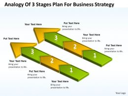 Business Process Flow Diagrams Analogy Of 3 Stages Plan For Strategy Powerpoint Templates