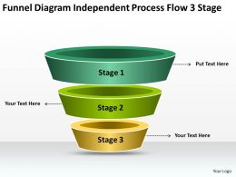 Business Process Flow Diagrams Funnel Independent 3 Stage Powerpoint Slides