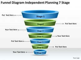 Business Process Flow Diagrams Funnel Independent Planning 7 Stage Powerpoint Slides