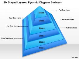 Business Process Flow Diagrams Six Staged Layered Pyramid Powerpoint Templates