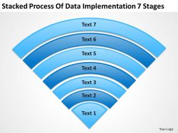 Business Process Flow Diagrams Stacked Of Data Implementation 7 Stages Powerpoint Slides