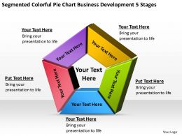 Business Process Flow Segmented Colorful Pie Chart Development 5 Stages Powerpoint Slides