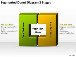 Business Process Flow Segmented Donut Diagram 2 Stages Powerpoint Slides
