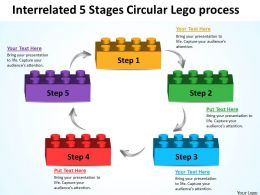 Business Process Flowchart Interrelated 5 Stages Circular Lego Powerpoint Slides