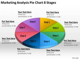 Business Process Flowchart Marketing Analysis Pie 8 Stages Powerpoint Slides