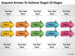 Business Process Flowchart Sequent Arrows To Achieve Target 10 Stages Powerpoint Templates