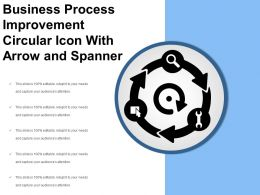Business Process Improvement Circular Icon With Arrow And Spanner