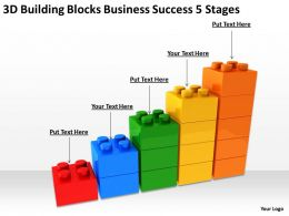 Business Process Management Diagram 3d Building Blocks Success 5 Stages Powerpoint Slides