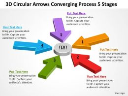 Business Process Model Diagram 3d Circular Arrows Converging 5 Stages Powerpoint Slides