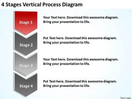 Business Process Model Diagram 4 Stages Vertical Powerpoint Slides