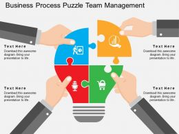 Business Process Puzzle Team Management Flat Powerpoint Design