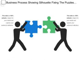 Business Process Showing Silhouette Fixing The Puzzles Alignment