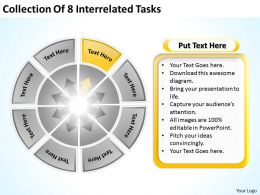 Business Process Workflow Diagram Collection Of 8 Interrelated Tasks Powerpoint Slides