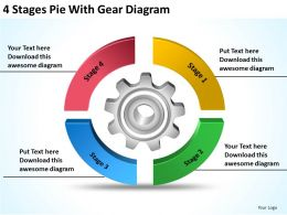 Business Process Workflow Diagram Examples 4 Stages Pie With Gear Powerpoint Templates