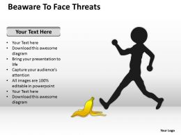 Business Process Workflow Diagram Examples Beaware To Face Threats Powerpoint Slides 0515