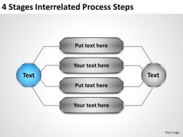 Business Processes 4 Stages Interrelated Steps Powerpoint Templates