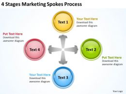 Business Processes 4 Stages Marketing Spokes Powerpoint Templates