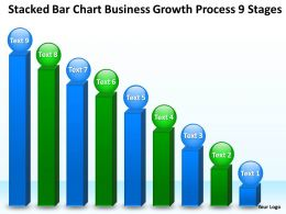 Business Processes Stacked Bar Chart Growth 9 Stages Powerpoint Templates