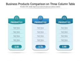 Business Products Comparison On Three Column Table