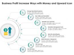 Business Profit Increase Ways With Money And Upward Icon