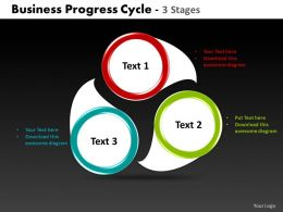 business progress cycle 3 stages powerpoint templates graphics slides 0712