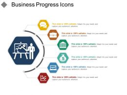 Business Progress Icons Example Of Ppt Presentation
