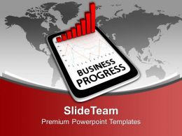 Business Progress On Tablet Bar Graph Powerpoint Templates Ppt Themes And Graphics 0313