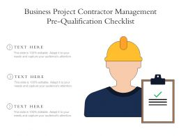 Business Project Contractor Management Pre Qualification Checklist
