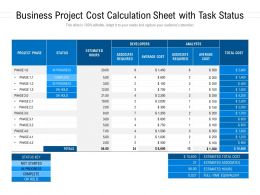 Business Project Cost Calculation Sheet With Task Status