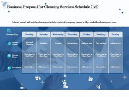 Business Proposal For Cleaning Services Schedule R296 Ppt Model