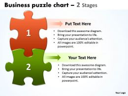 Business Puzzle Chart 2 Stages Powerpoint templates 0812