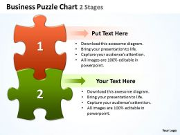 Business Puzzle Chart 2 Stages Powerpoint templates ppt presentation slides 0812