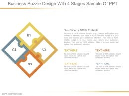 Business Puzzle Design With 4 Stages Sample Of Ppt