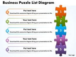 Business Puzzle List Diagarm Powerpoint templates 0812