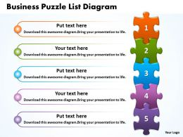 Business Puzzle List Diagarm Powerpoint templates ppt presentation slides 0812
