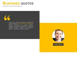 Business Quotes For Company Profile Representation Powerpoint Slides